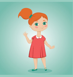 little red-haired girl vector image