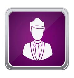 purple emblem guard person icon vector image