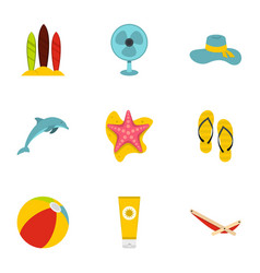 summer relax and beach icons set flat style vector image