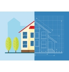 Technical drawing house vector