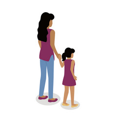 woman with girl isometric projection icon vector image
