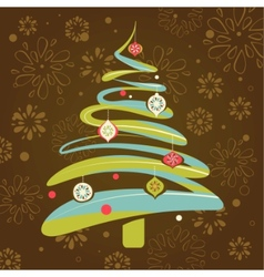 christmas background with xmas tree vector image