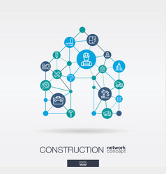 construction integrated thin line web icons in vector image