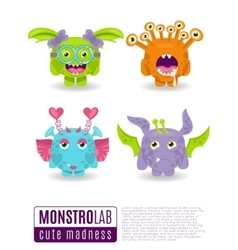 monsters with toothy grins vector image vector image