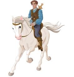 Prince Charming riding a horse vector image vector image