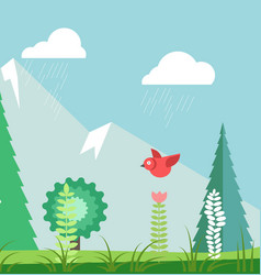 rainy summer landscape with green trees and red vector image vector image