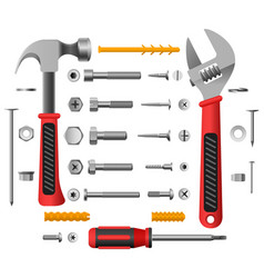 screws nuts and tools vector image vector image