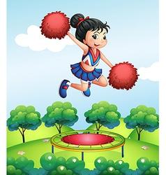 A cheerleader above a trampoline vector image
