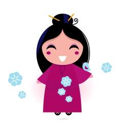 geisha woman in kimono vector image vector image