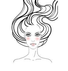 Hand-drawn fashion female portrait vector image