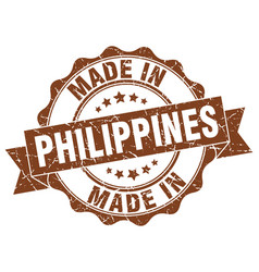 made in philippines round seal vector image