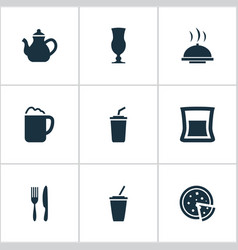 set of simple beverage icons vector image vector image