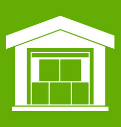 warehouse building icon green vector image