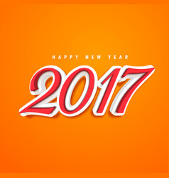 2017 text design in 3d style on orange background vector image vector image