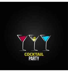 cocktail party glass design menu background vector image vector image