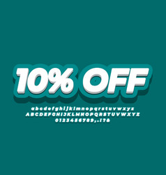 10 percent sale discount promotion text 3d dark vector