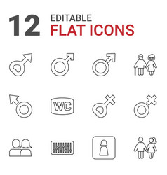 12 gender icons vector