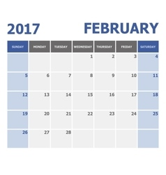 2017 February calendar week starts on Sunday vector