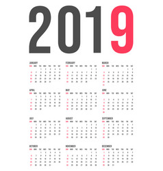 2019 year calendar template minimal pocket square vector