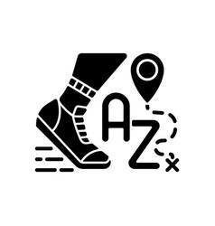 Alphatourism black glyph icon vector