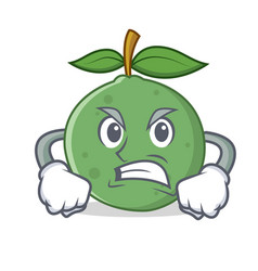 Angry guava mascot cartoon style vector