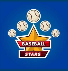 baseball stars emblem vector image