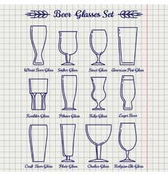 Beer glasses line icons set vector image