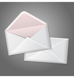 Blank white realistic envelopes opened and close vector image