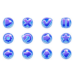 blue circles collection set glass buttons vector image