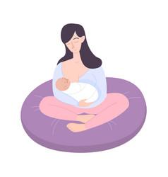 Breast feeding flat composition vector