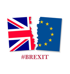 Brexit hashtag two parts of flags vector