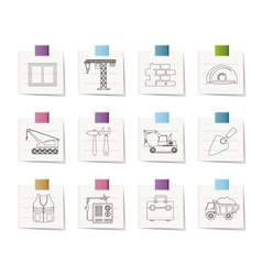 Building and construction icons vector