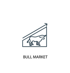 Bull market concept line icon simple element vector