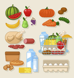 cartoon color cooking product icon set vector image