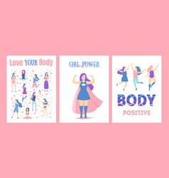 cartoon feminism concept posters card set vector image