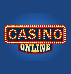 casino online glowing sign on blue background vector image