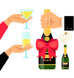 Champagne bottle and drinking glasses vector