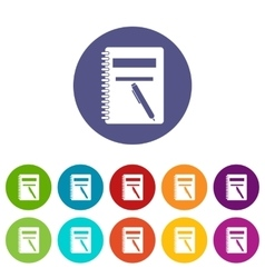 Closed spiral notebook and pen set icons vector image