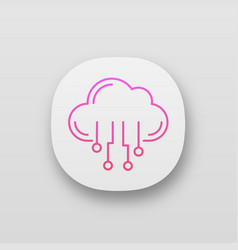 cloud computing app icon vector image