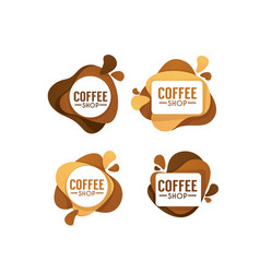 Coffee shop logo collection of hot and sweet vector