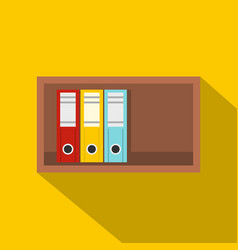 colorful office folders on wooden shelf icon vector image