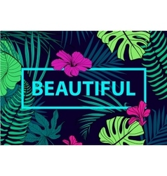 Colorful tropical quote in square frame vector