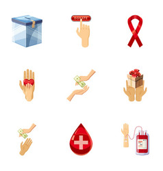 donor donation icons set cartoon style vector image vector image