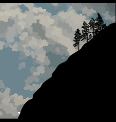 Drawn silhouette of a steep mountainside with vector