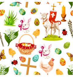 easter holiday symbols seamless pattern background vector image