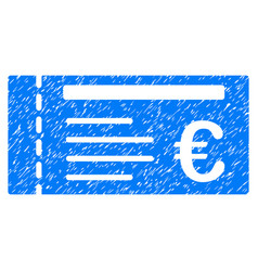 Euro ticket grunge icon vector