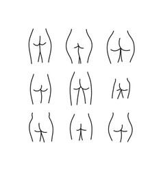 Female buttocks doodle icon vector