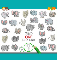 Find one a kind with elephant characters vector
