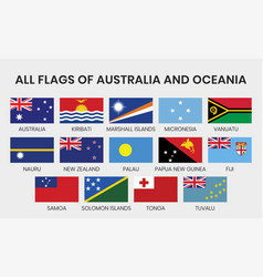 Flags all australia and oceania countries vector