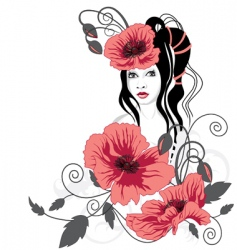 girl and red flowers vector image vector image